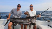 Kevin Kirsh catches a Swordfish while saltwater fishing 70 miles off the coast of Virginia Beach on the Rudee Angler Head Boat