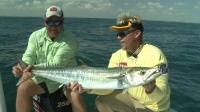 Mark Davis and Chad Kinney catch kingfish 10 miles off the coast of Port Mansfield, Texas